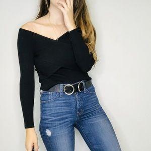NWT Zara black knit boatneck top